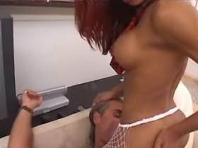 Hot ebony shemale fucks tattooed guy on white sofa