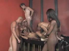 Three ardent trannyes fuck four slave guys in orgy