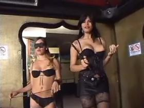 Beautiful tall tranny and slave girl dominate chap