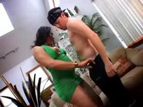 Hot ebony shemale fucking with dude in living room