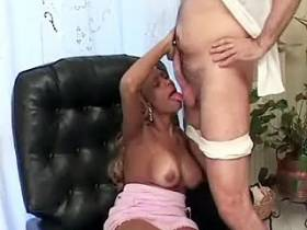 Charming blonde shemale in pink dress gets anal pleasure kj