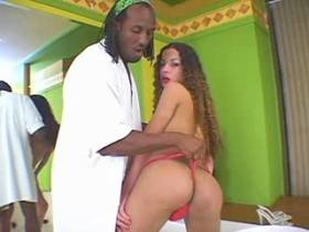 Longhaired spicy shemale gets fucked by big black dick