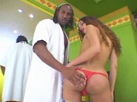 Cute latina shemale spreads ass for big black cock