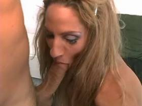 Lewd blond shemale sucking stiff cock and facialized