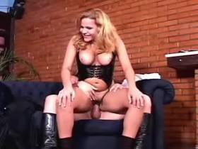 Horny blond shemale fucks busty babe in all holes
