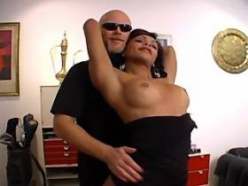 Bald bearded man sucks cock at hot brunette tranny