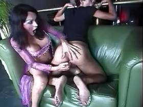 Mature tranny fucks cute boy on sofa in night club