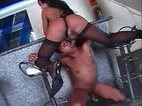 Beautiful brunette shemale fucks cheeky boy in bar