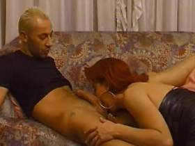 Hot guy sucked by redhead shemale in leather boots