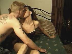 Tattooed dude sucked by steamy slim shemale on bed