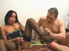 Beautiful asian tranny fucks with dude on wide bed