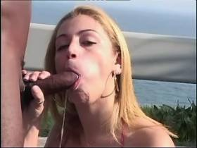 Gorgeous blond shemale fucking with blacky outdoor