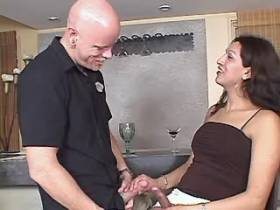 Big tranny and bald dude sucks each other in kitchen