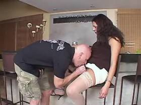 Big beautiful tranny sucked by bald guy in kitchen