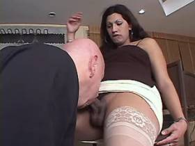 Big beautiful tranny fucking with bald guy in kitchen