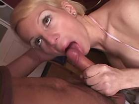 Blond shemale gets blowjob and fucks depraved dude