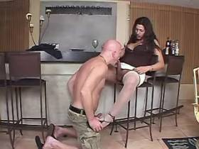Lustful bald dude fucking with big redhead shemale