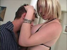 Busty beautiful tranny gets blowjob from lewd dude