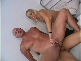Bald guy fucked by blond shemale in threesome orgy